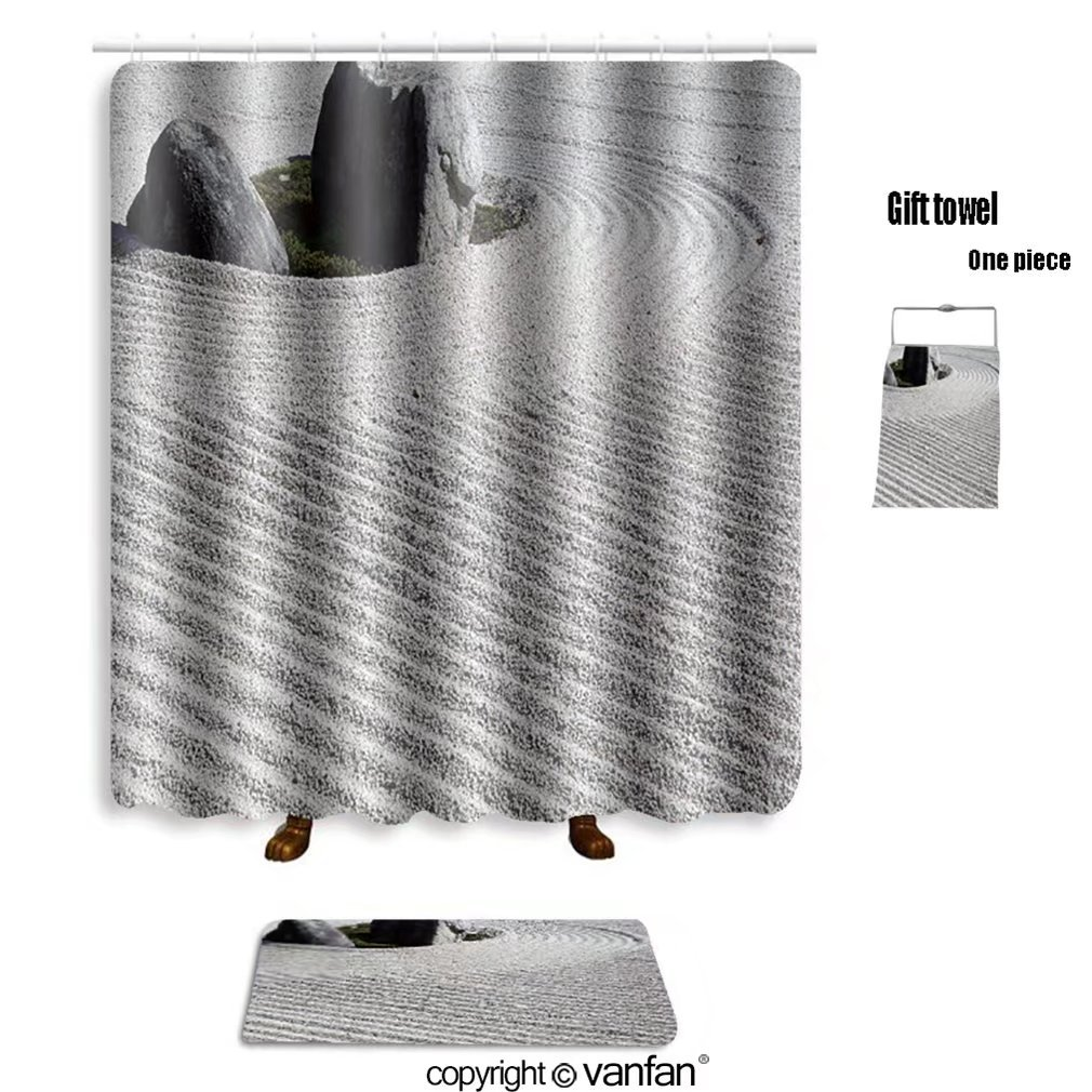 vanfan bath sets with Polyester rugs and shower curtain japanese garden 117834892 shower curtains sets bathroom 48 x 78 inches&23.6 x 15.7 inches(Free 1 towel and 12 hooks)
