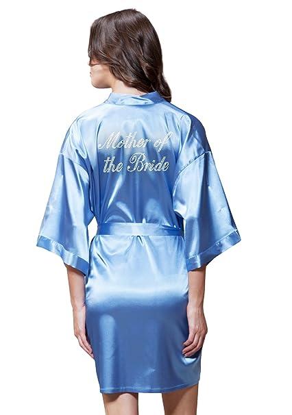 f4267f20518 Turquaz Linen Satin Kimono Rhinestone Mother of The Bride Robe  (Small Medium