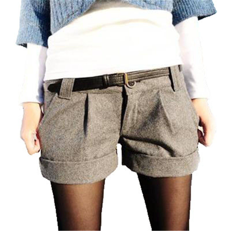 Shilian Clothing Woolen Shorts Women Casual Turn-up Straight Bootcut Shorts Female Slim Casual Zipper Pocket Shorts,Large,Gray
