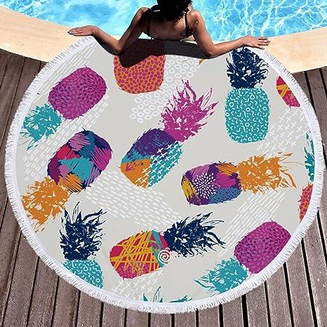 Viajar Toallas de Playa Redondas de las Borlas Impresión de la piña para el Nadar de