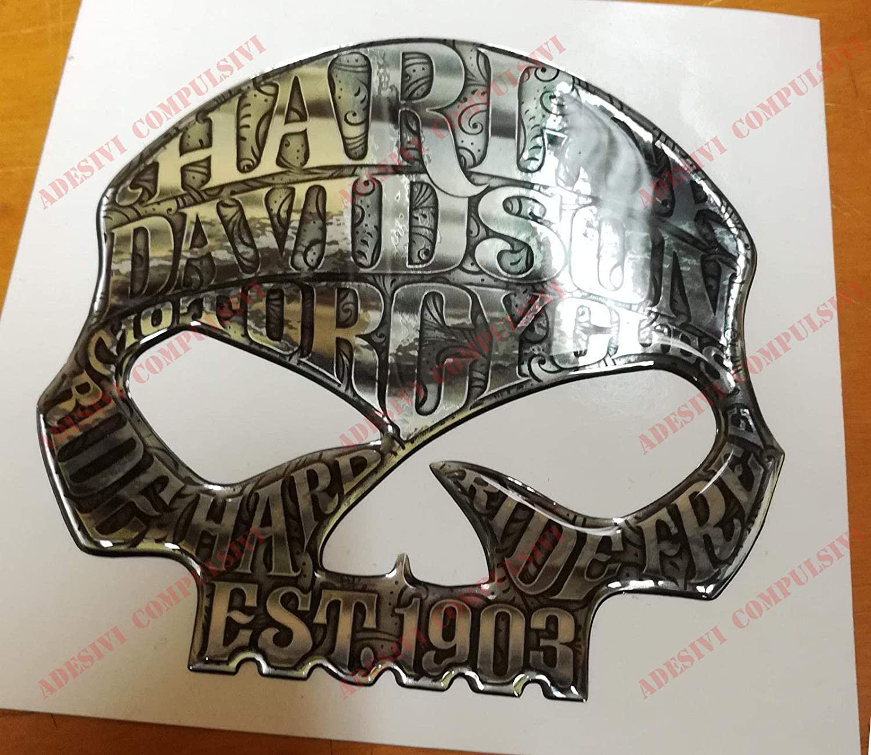 harzbeschichtet F/ür Tankdeckel oder Helm Farbe: Silber. 3D-Effekt Logo-Aufkleber mit Willie G Totenkopf