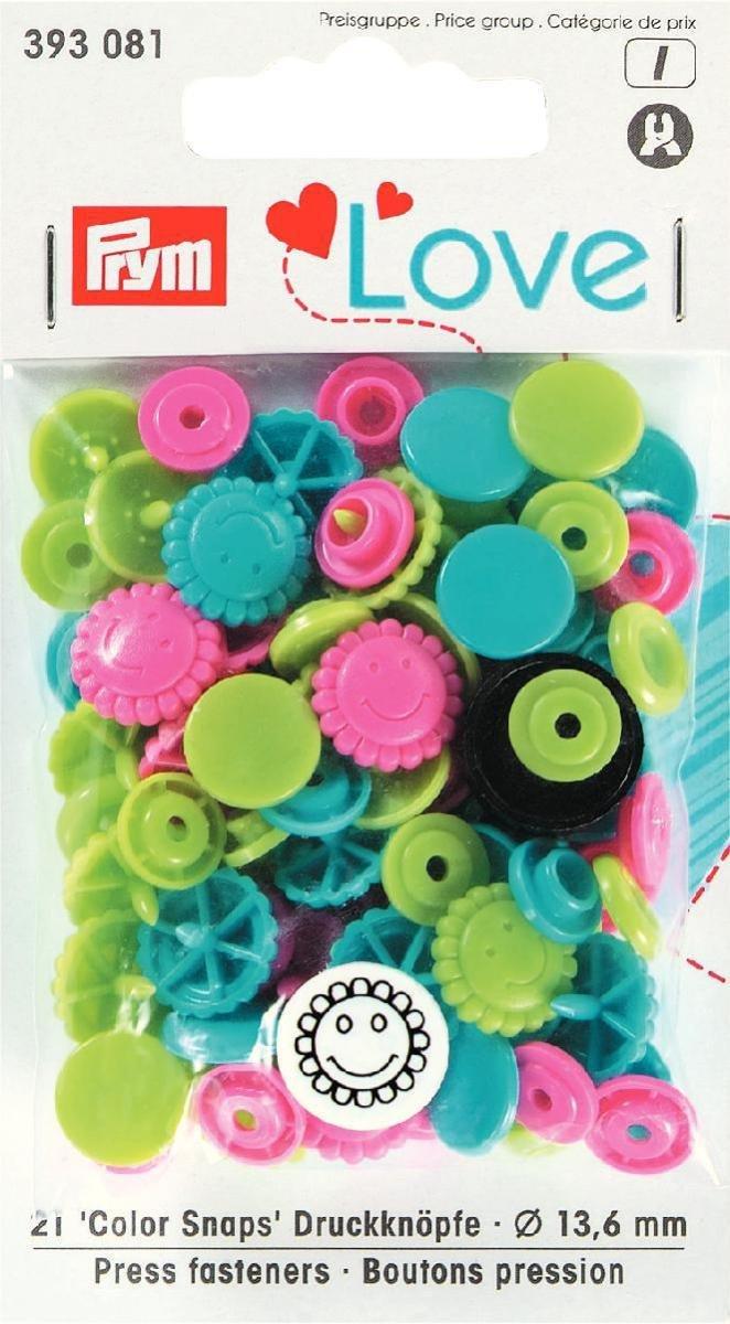 PrymLove a forma di fiore Bottoni colorsnaps Chiusure a scatto, plastica, Turchese/Verde mela/Rosa brillante, 13,6mm, 30 PRYM_393081-1