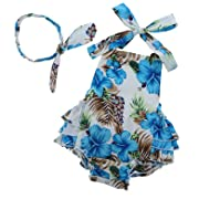 PrinceSasa Infant Party Dress Ruffle Shirt Romper for Baby Girl,blue3,7-12 Months(Size M)