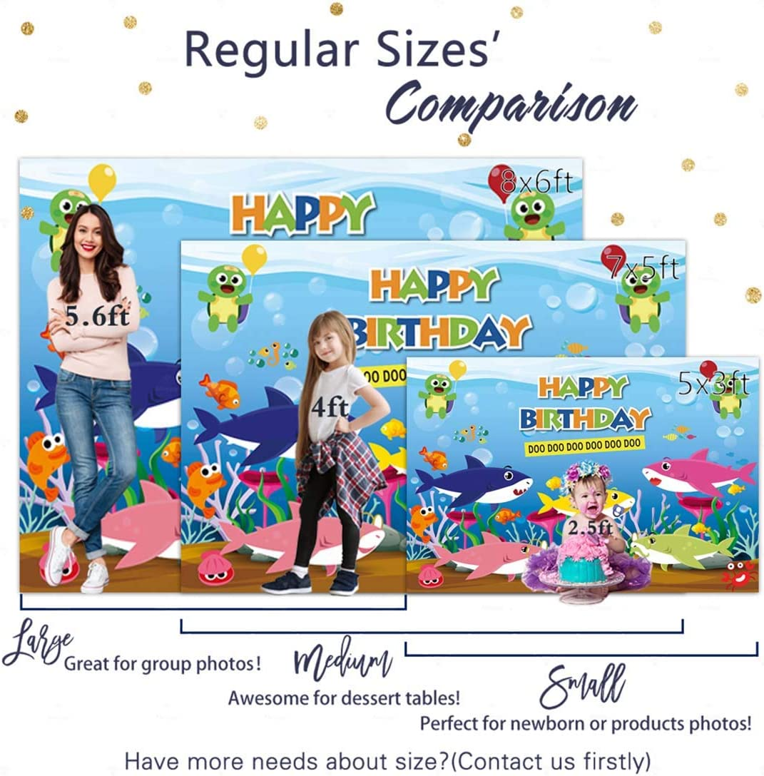 Allenjoy 5x3ft Happy Birthday Backdrop Cartoon Vinyl Photography Background Under The Sea Fish Bubbles Children Newborn Kids Shower Party Favors Supply Banner Photo Shoot Sign Poster Props