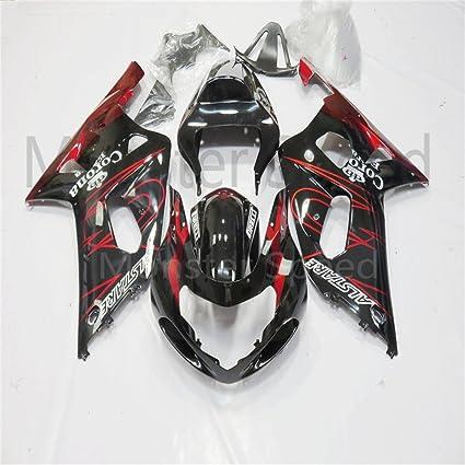 ABS negro rojo kit de carenado completo Inyección Molde Ajuste para Suzuki 2001 - 2003 GSXR 600 - 750 K1 # 27: Amazon.es: Coche y moto