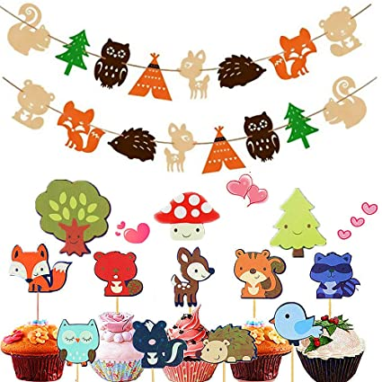 12e96d7d4e0 Sakolla (Set of 26) Woodland Animals Banner and Animal Friends Cupcake  Toppers Forest Animals