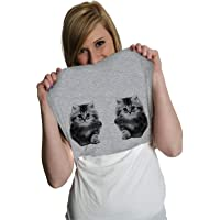 Womens Ask Me About My Kitties Flip Up Tshirt Funny Inside Out Cat Print Tee for Ladies