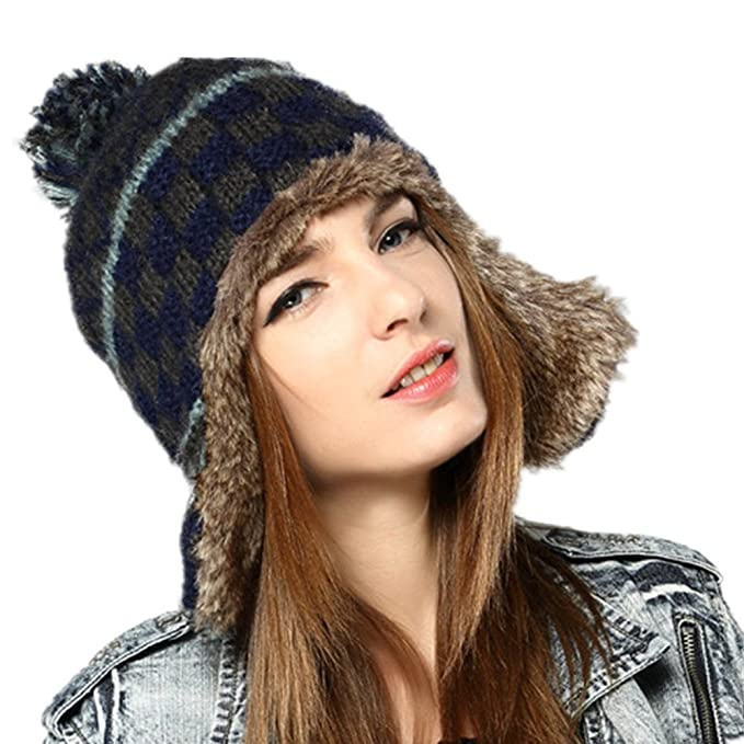 c4654289 Image Unavailable. Image not available for. Color: Kenmont Women Winter  Cute Faux Fur Thicken Acrylic Knit Earflap Hat Beanie Cap ...
