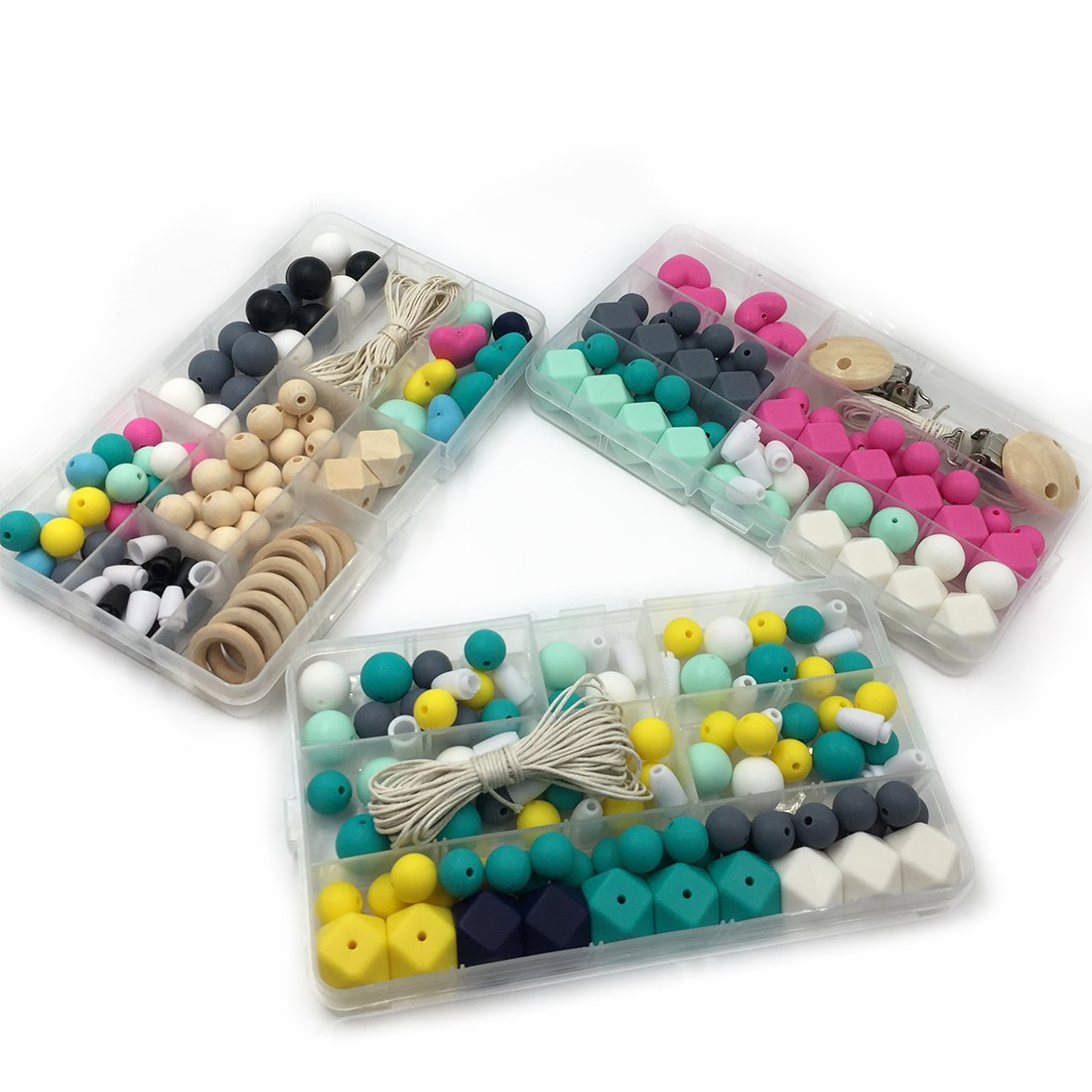 Amyster Diy Silicone Teething Kit Mixed Color Geometry Hexagon Silicone Beads Heart-Shaped Silicone Letters Beads Wooden Beads Pacifier Clip Baby Teether Toys Satz (A109+S407+S408)