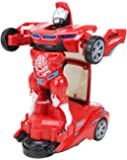 Saubhagya Global Battery Operated (Not Included ) Red Converting Car to Robot, Robot to Car Automatically,Transformer Toy with Light and Sound for Kids