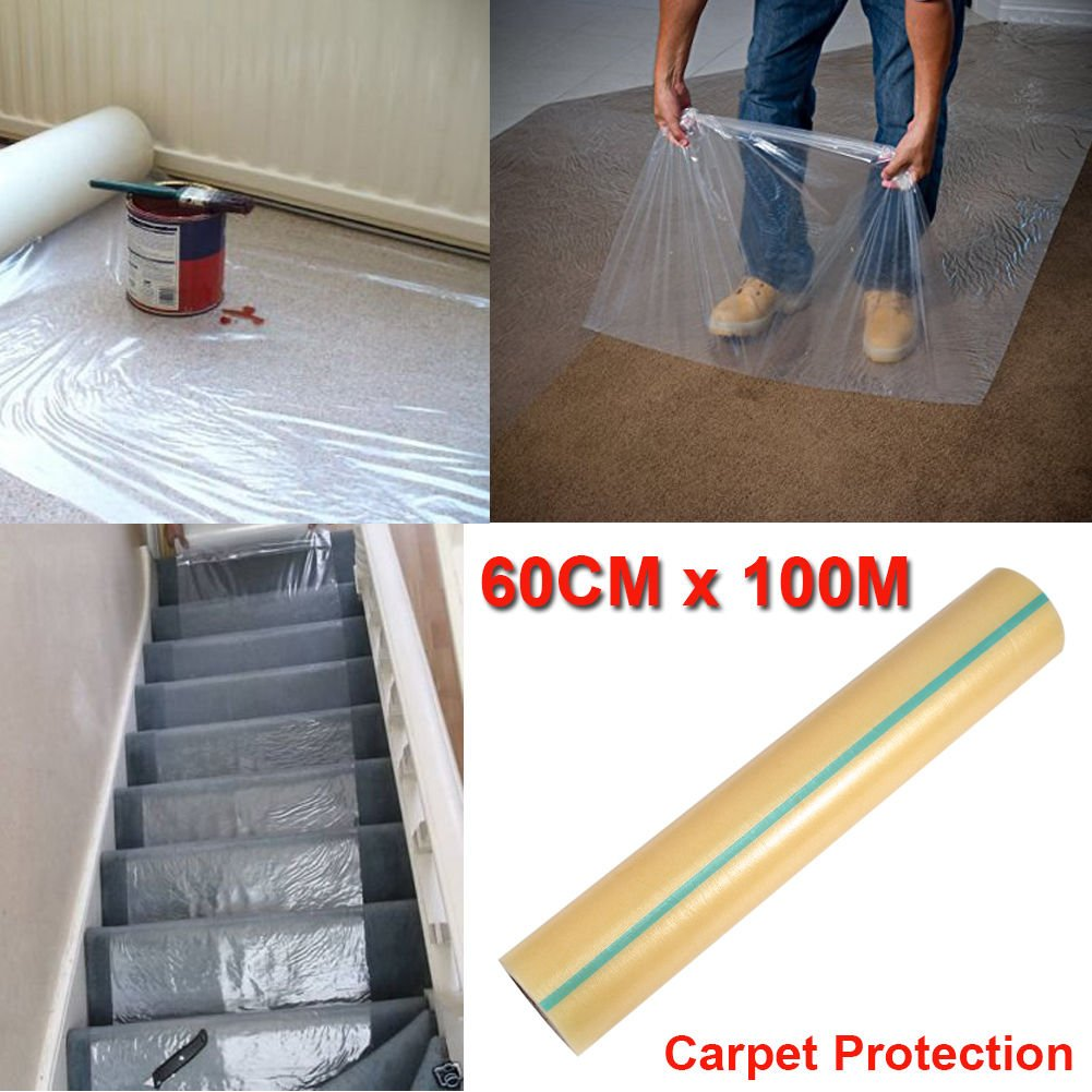 Carpet Protection Film, PE Carpet Shield for Runner Floor Stairs Heavy Duty Puncture & Water Resistant - 23'' x 328' Roll