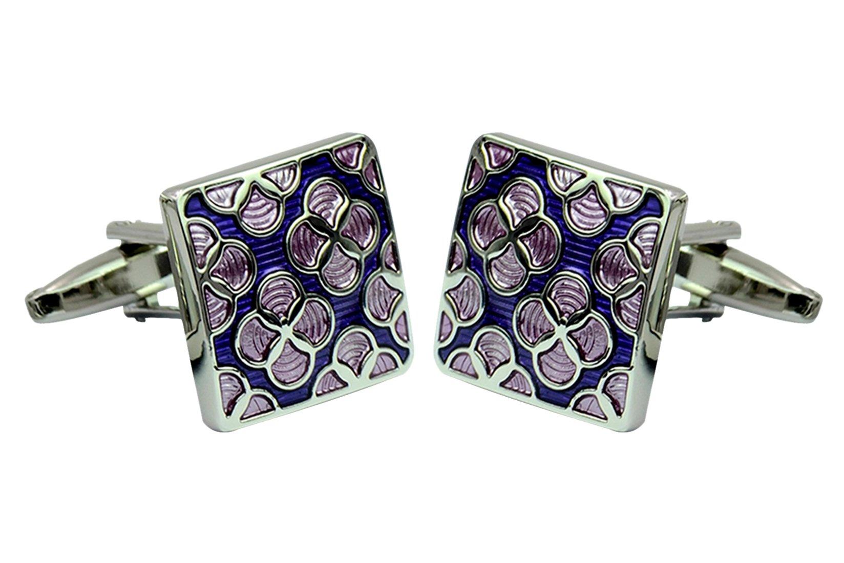 Daptsy Purple flower square enamel cufflinks classy bullet cufflinks brass art deco fashion cufflinks