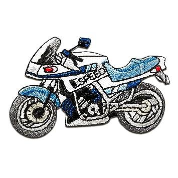 Aufnäher // Bügelbild blau Motorrad Speed Biker Patches Aufbüge 6,2x3,6cm
