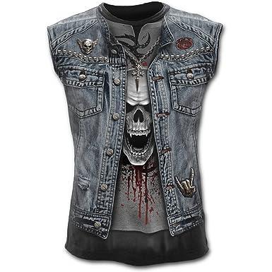 ef61bceb9ba49 Amazon.com  Spiral Mens - Thrash Metal - Allover Sleeveless T-Shirt ...