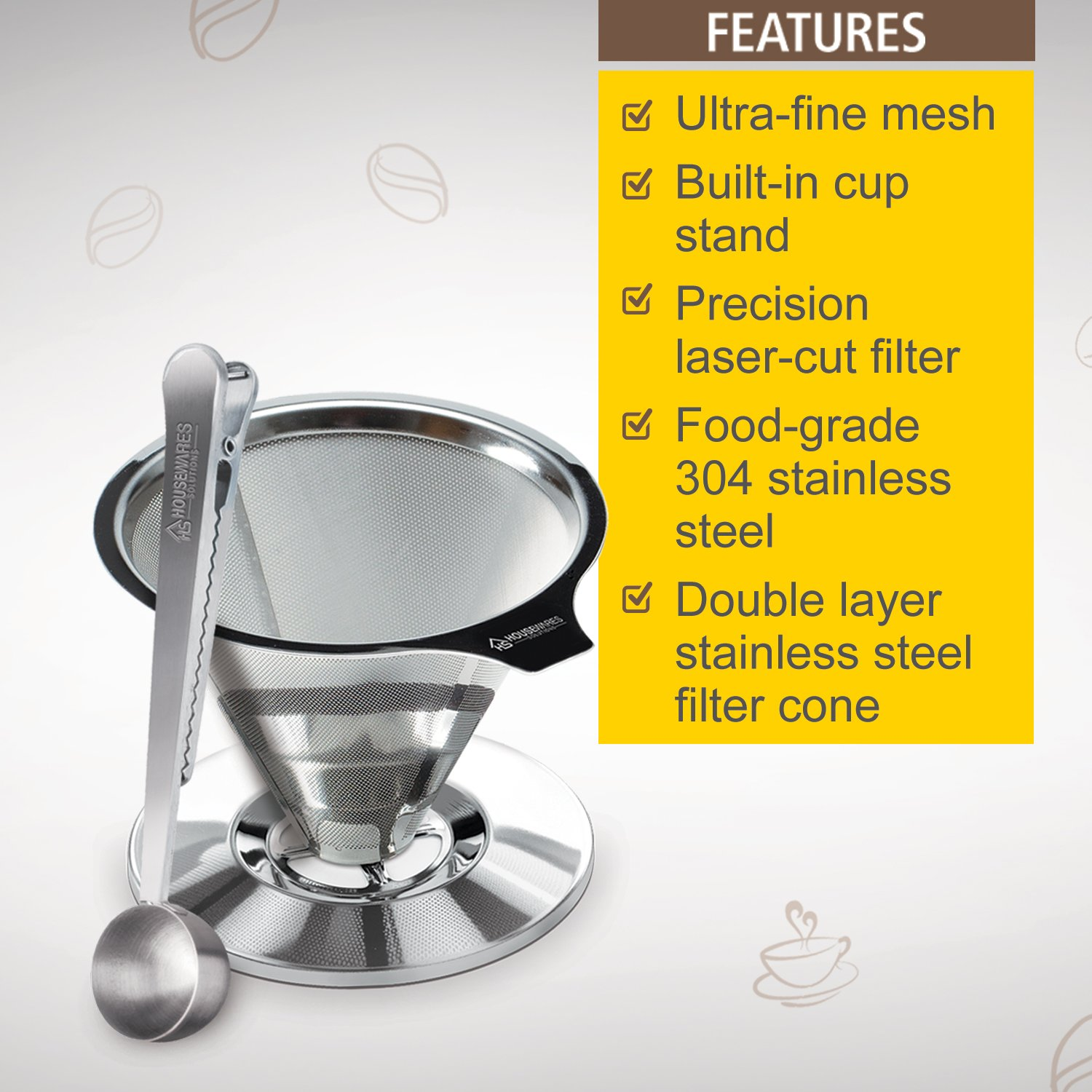 Stainless Steel Pour Over Coffee Dripper By Housewares Solutions + Bonus Coffee Scoop With Built In Bag Clip