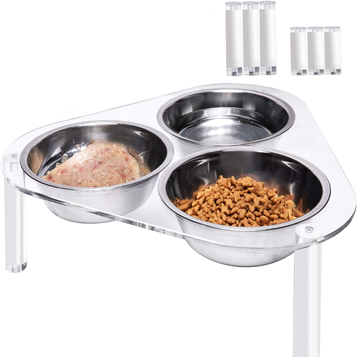 Dubulle Raised Cat Bowls Elevated Adjustable for 3 Pets with Acrylic Stand 3 Stainless Steel Bowls