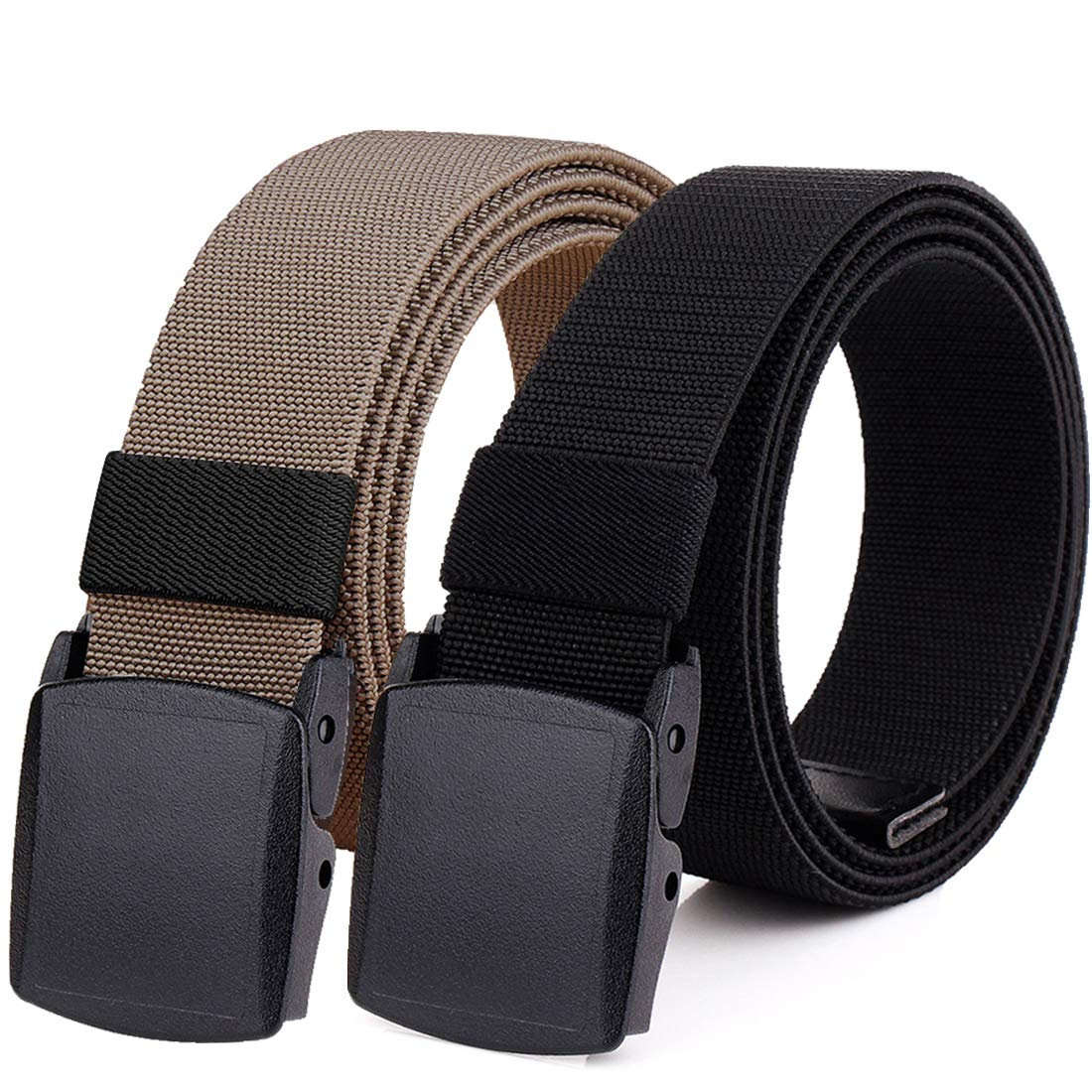Hoanan 2-Pack Elastic Stretch Belt, Men's Plus Size No Metal Nylon Tactical Hiking Belt(black/brown-up to 42'')