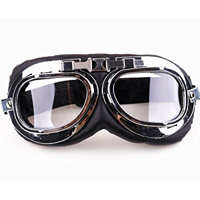 XYZCTEM Aviator Pilot Motorcycle Half Helmet Goggles Flying Motorcycle Biker Motocross Cruisers Sun UV Wind Eye Protect: Automotive