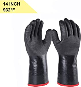 "Insulated Heat/Cold Resistant BBQ/Grill Gloves Oven Mitts for Smoker, Fry Turkey, Smoking Meat, Hot Food, Pot Holder, Water& Oil Proof Flame Retardant with Neoprene Coating (14"")"