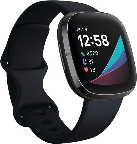 Fitbit Sense - Smartwatch avanzado de salud con herramientas avanzadas de la salud del corazón, gestión del estrés y tendencias de temperatura cutánea, Acero inoxidable grafito, con Alexa integrada