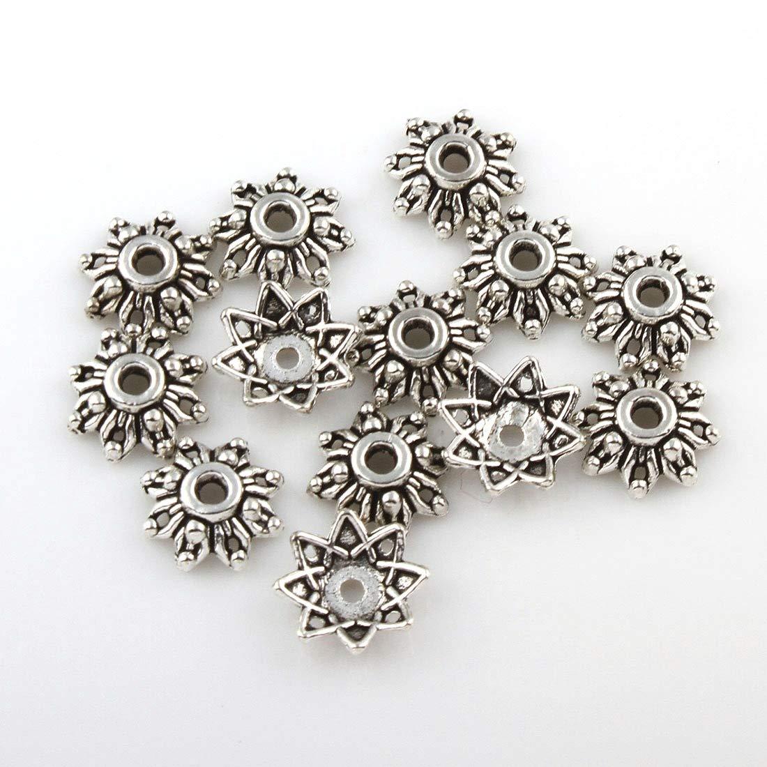 50 Metallperlen Spacer 8mm Tibet silber Zwischenteile Perlenkappen M232