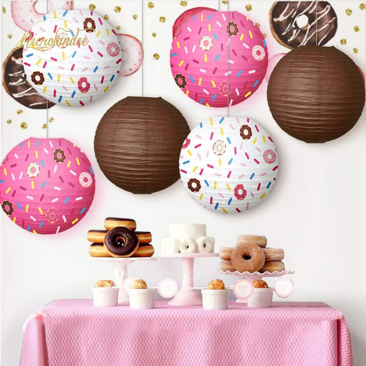 NICROLANDEE Donut Party Supplies/12inch Paper/Lantern Donuts Grow Up/Birthday Party For/Baby/Shower Kids/Party Decor Ice Cream Party Decorations(6PCS)