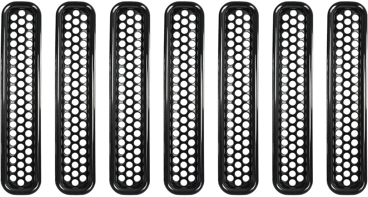 Black Front Grill Inserts Grille Inserts /& Angry Bird Style Front Headlight Bezels Cover Trim for 2018-2020 JL JLU