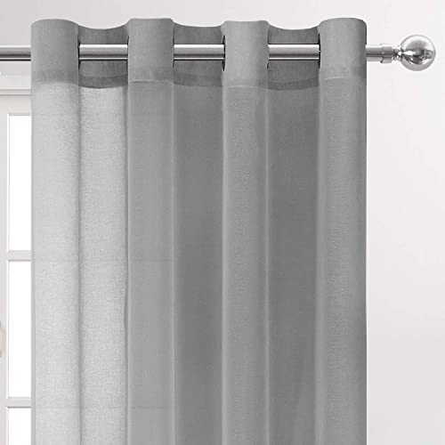 DWCN Grey Sheer Tier Curtains 36 inch Length- Grommet Faux Linen Small Window Kitchen Curtain Voile Drapes for Cafe Bedroom Living Room, Set of 2 Tier Curtain Panels