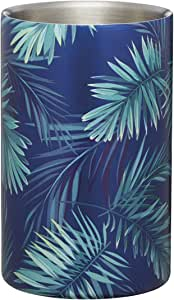 BarCraft Wine Cooler with Palm Tree Leaf Print, Stainless Steel, Green and Blue