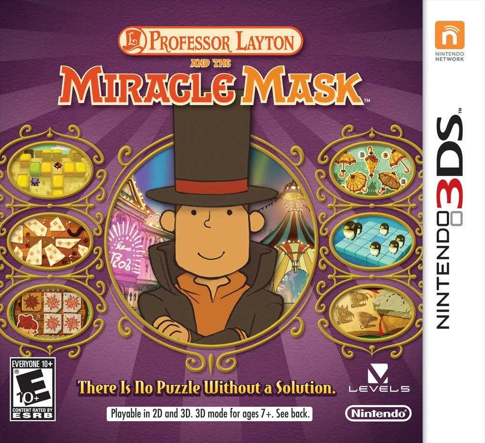 Professor layton miracle mask 3ds game box