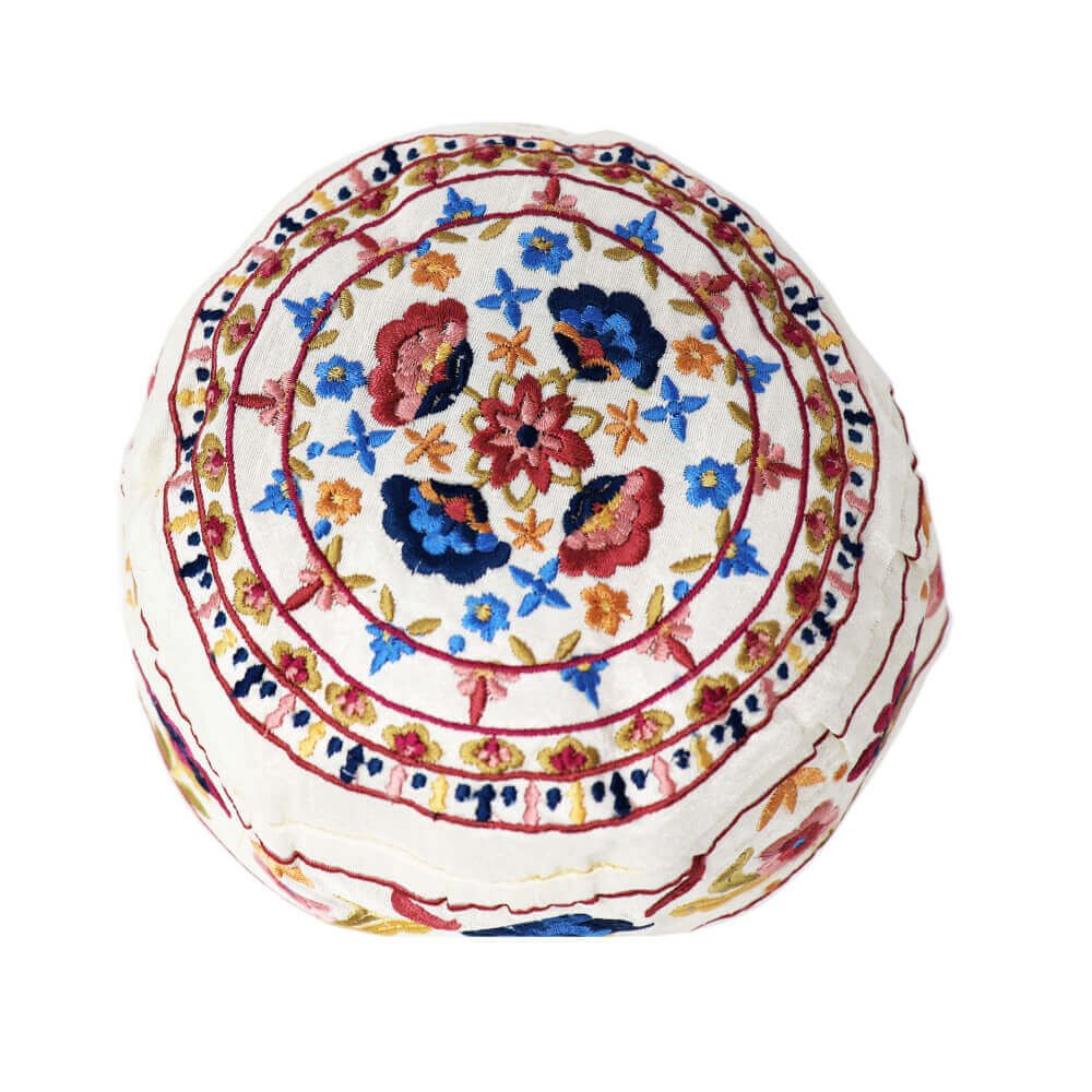 Yair Emanuel White Flower Oriental Design Hand Embroidered Hat Bucharian Kippah