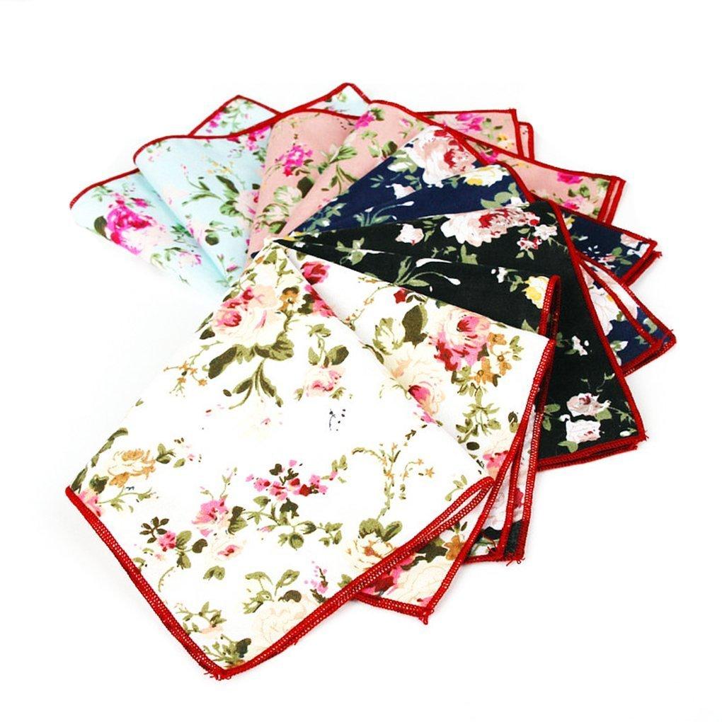 5-Pk of Floral Cotton Pocket Square Set