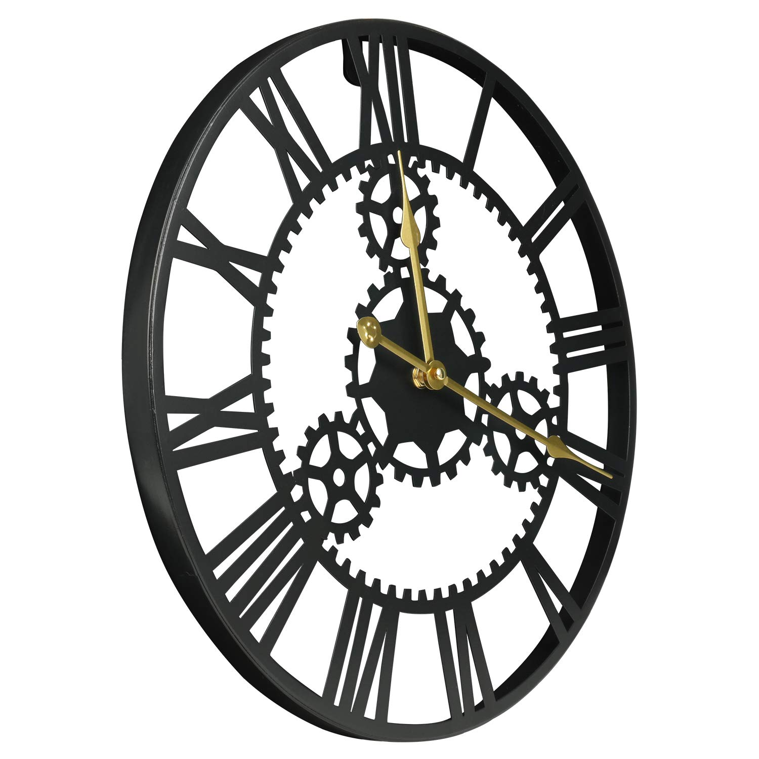 ShuaXin Large Home and Office Decorative Black Iron Wall Clock,16 Inch Antique Industrial Style 3D Hollow Gear Big Roman Numerals Art Metal Wall Clock