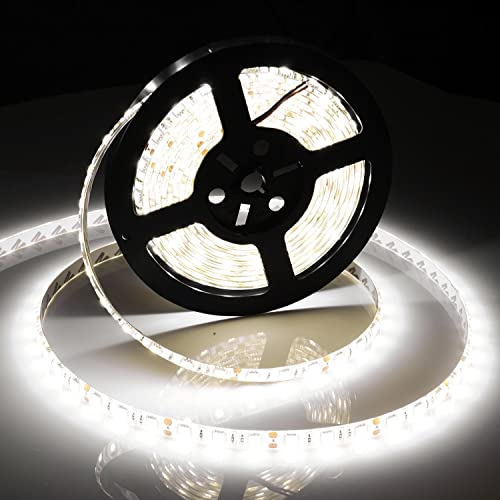 Gledto Led Strip Lights, 16.4FT 5M SMD 5630 IP65 Waterproof Indoor 300 LEDs Cool White Color Flexible Led Strip Light Flat Rope light for Festival Decorative