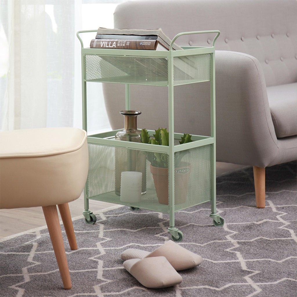 He Xiang Firm Green double store shelves trolley shelves with a pulley handrails floor shelves wrought iron racks living room storage shelves by He Xiang Firm (Image #2)