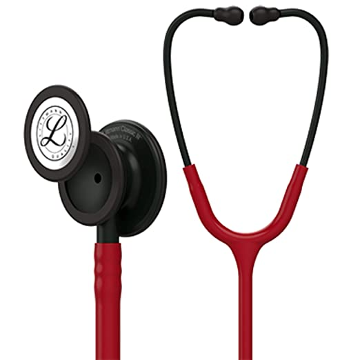 3 M Littmann Classic Iii Monitoring Stethoscope, Black Finish Chestpiece, Stem And Headset, Burgundy Tube, 27 Inch, 5868 by 3 M Littmann