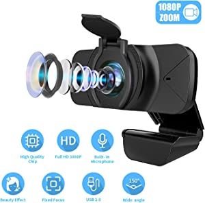 SPADE 1080P Webcam with Microphone, Web Cam USB Camera, Computer HD Streaming Webcam for PC Desktop & Laptop w/Mic, Wide Angle Lens & Large Sensor for Superior Low Light