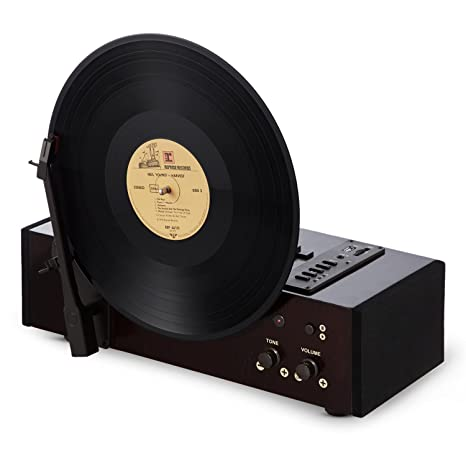 auna Vertical Tocadiscos Retro Vertical (Altavoz Integrado, 3 ...