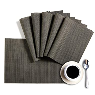 Placemats,HQSILK PVC Table Mats,Placemat Set of 6 Non-Slip Washable Coffee Mats,Heat Resistant Kitchen Dining Table Mat (Dark Gray)