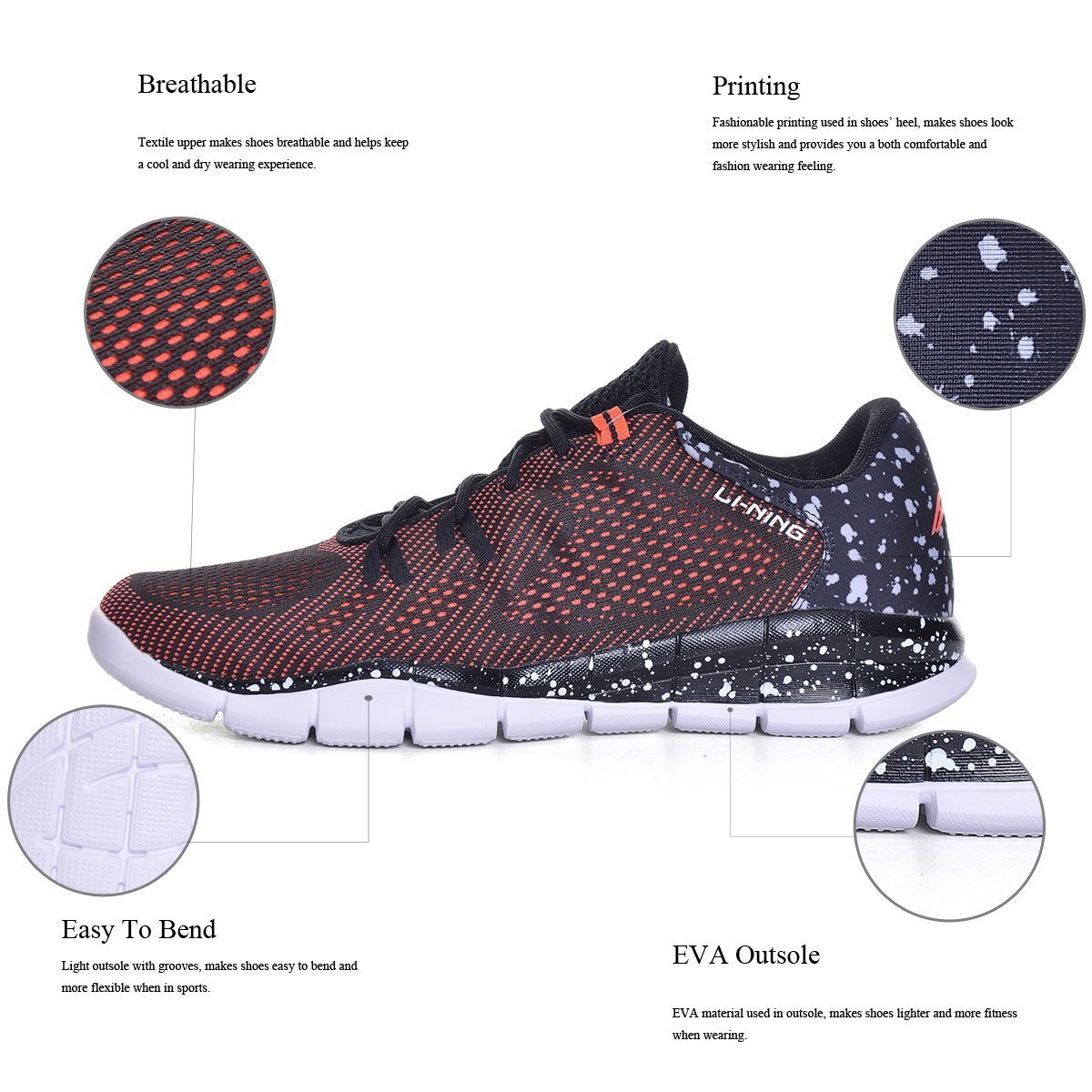 Breathable and Lightweight Athletic Shoes with Flexible Outsole for Running-5km