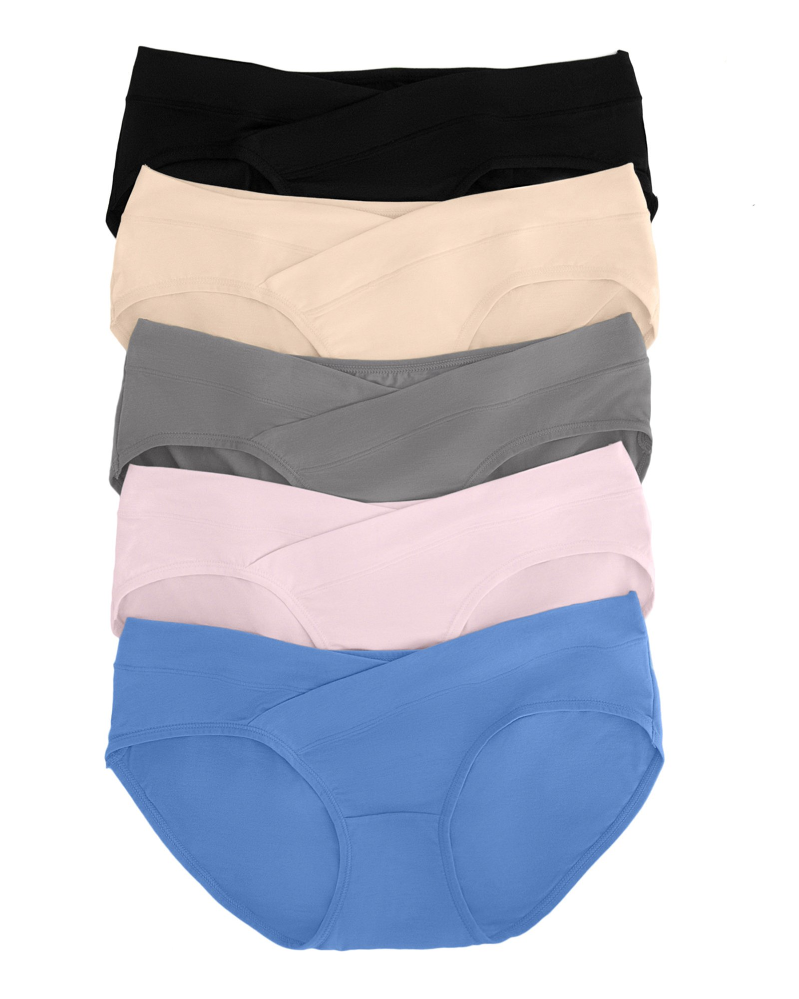 Kindred Bravely Under The Bump Seamless Maternity Underwear/Pregnancy Panties - Bikini (Large Assorted, 5 Pack)