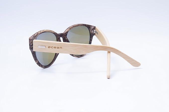 Ocean Sunglasses cool - lunettes de soleil en Bambou - Monture : Bambou - Verres : Revo Bleu (51001.2) TESE9Ci