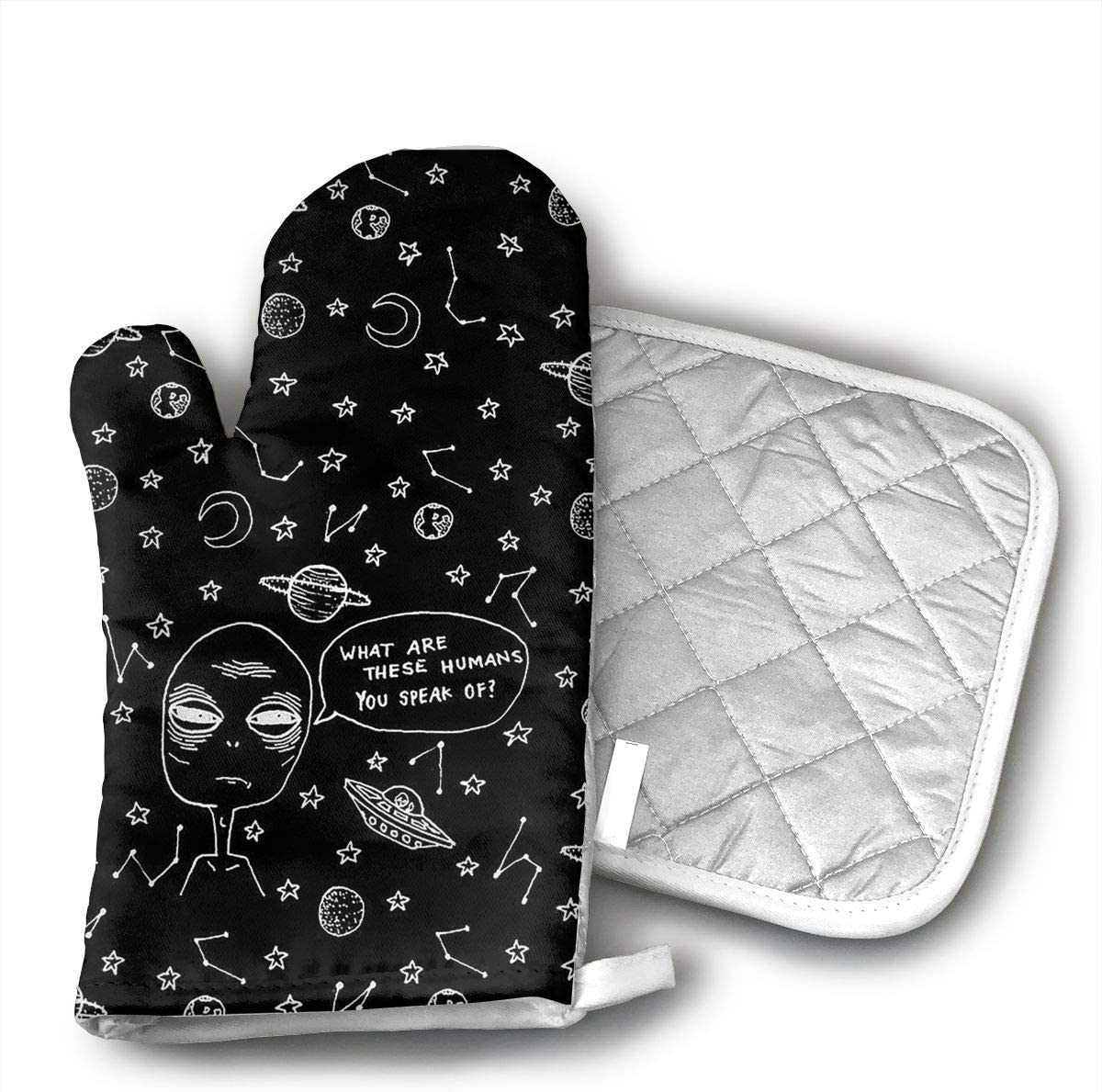 LALABULU Oven Mitts Alien and UFO Non-Slip Silicone Oven Mitts, Extra Long Kitchen Mitts, Heat Resistant to 500Fahrenheit Degrees Kitchen Oven Gloves