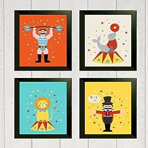 Silly Goose Gifts Fun Circus Children Wall Art Decor (Set of Four) Vintage Retro