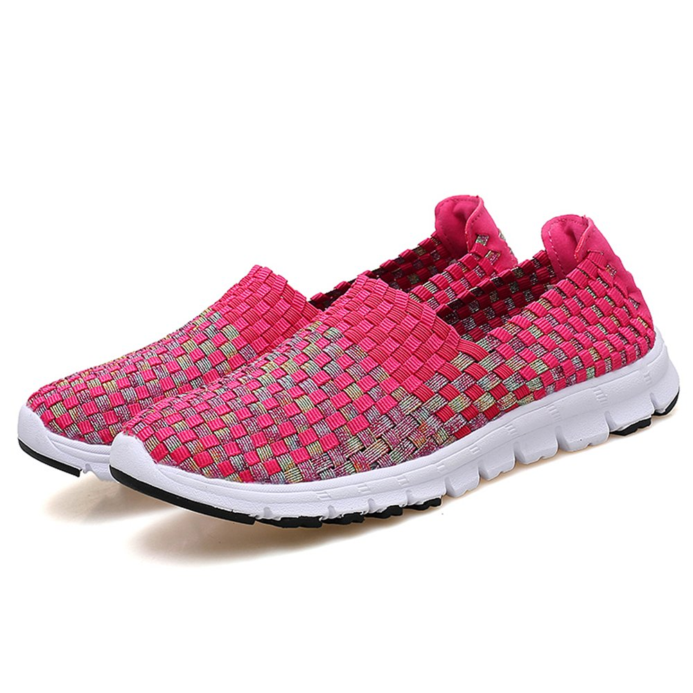 YMY Women's Woven Sneakers Casual Lightweight Sneakers - Breathable Running Shoes B07DXVKYHJ EU36/6 B(M) US Women|Rose1