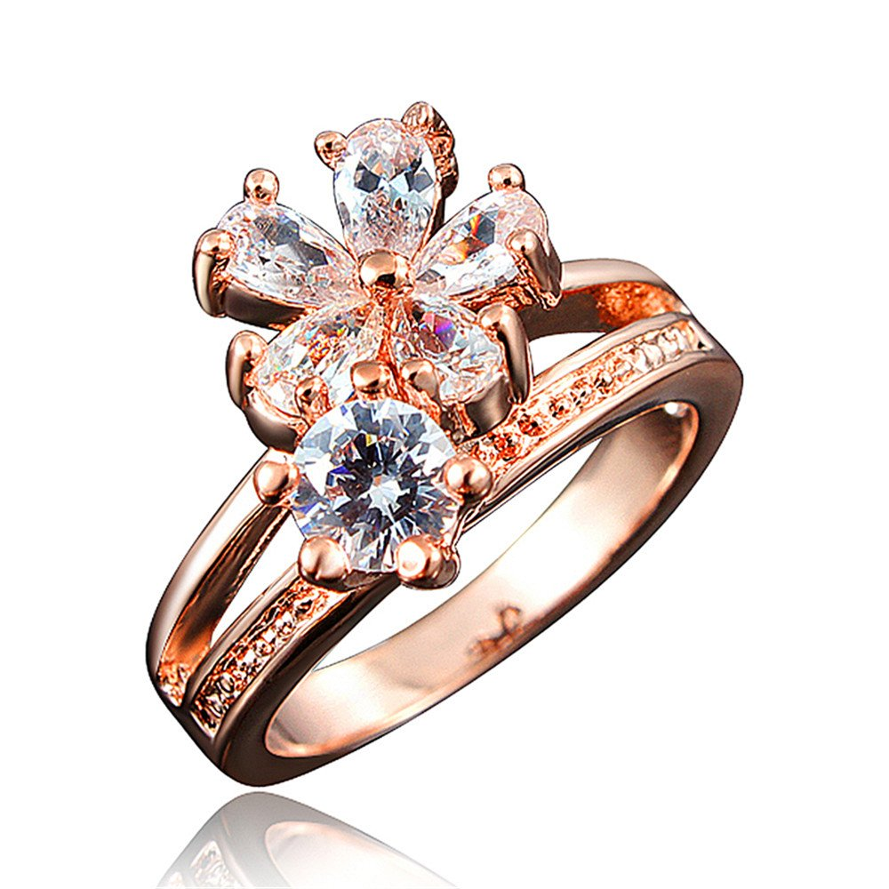 Princess Flower Tiara Crown Wedding Engagement Ring Perfect Gift For Women Girl Couple Anniversary Gift Christmas Gift Rose Gold Plated (7)