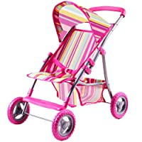 iPlay iLearn Deals Foldable Doll Stroller with Hood My First Doll Stroller with Basket Canopy. Pram Lightweight Pink Baby Stroller for 2 3 4 5 Year Olds Kids Baby Toddler Boys and Girls