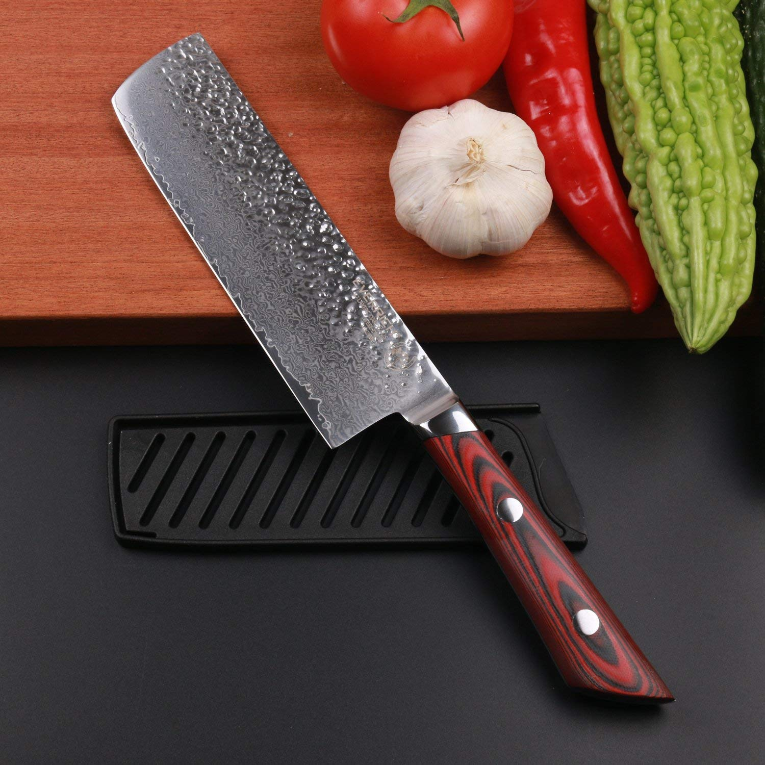 EVERRICH Nakiri Vegetable Knife 7 Inch Kitchen Knife Pro Chef Knife Cut Vegetables Cut Meat / Fish Fruits Chef Knife Japanese VG10 Damascus Steel Finish Beauty Box W/Guard by EVERRICH