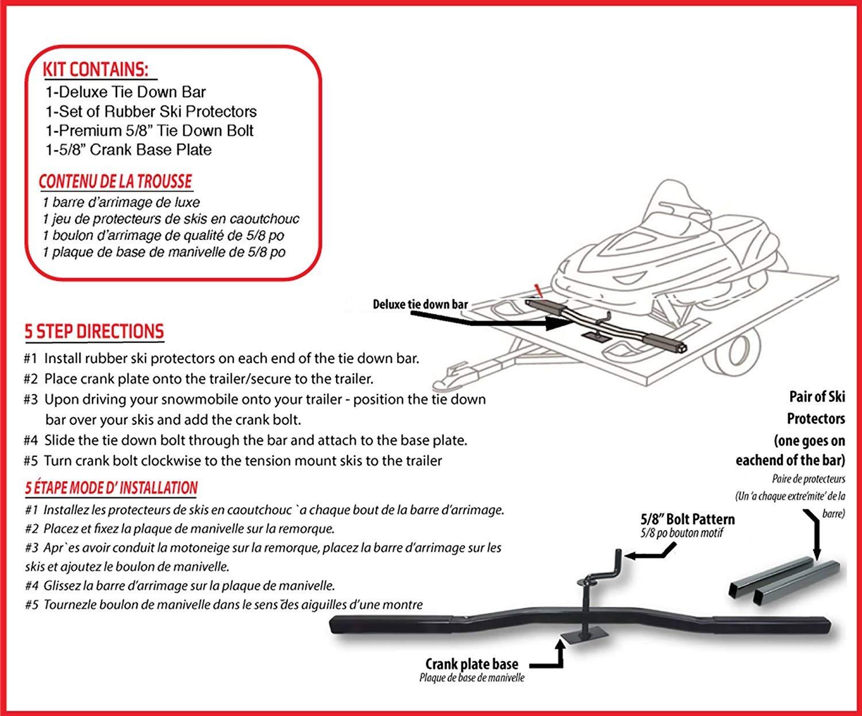 Raider 5/8 Inch (Single) Snowmobile Trailer Deluxe Tie Down Secure Kit (Includes Ski Protectors)
