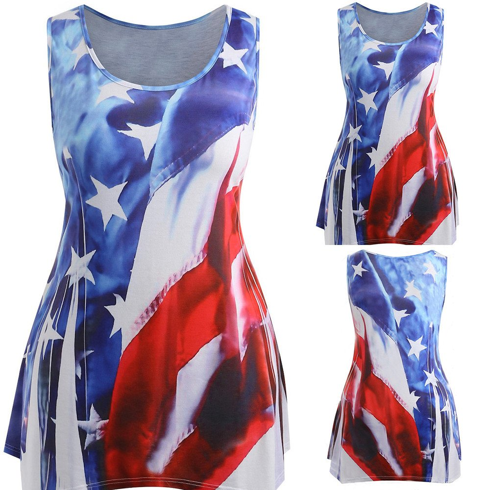 LLNONG Women Plus Size Colorful Printed Patchwork Vest American Flag O-Neck Sleeveless Loose T-Shirt Casual Blouse